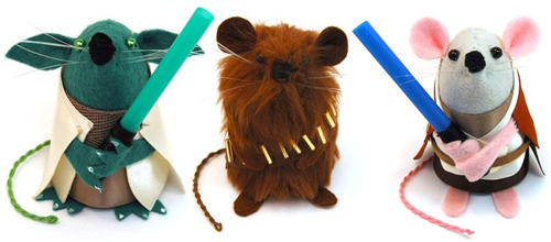 Yoda, Chewie, and Obi-Wan mice by TheHouseOfMouse@Etsy