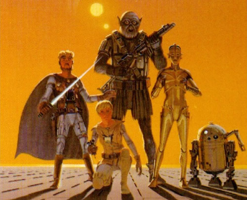 Very early poster concept by Ralph McQuarrie: Luke\'s a girl! Han\'s a Jedi! Chewbacca\'s... I don\'t know.