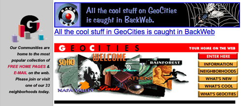 Geocities.com in 1997 (before Yahoo bought it.)