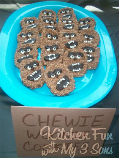 Wookiee Head Cookies by Kitchen Fun with My 3 Sons (used with permission)