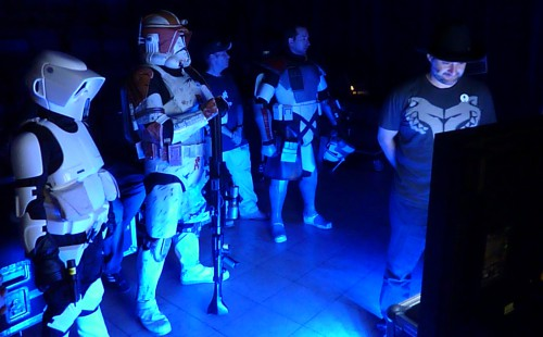 Dave Filoni watches backstage with some friends