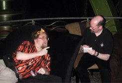 Aaron and Tim Zahn goof around at JadeCon 2002 in Las Vegas.