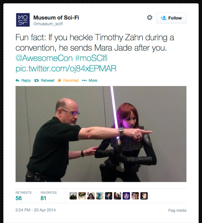 @museum_scifi: Fun fact: If you heckle Timothy Zahn during a convention, he sends Mara Jade after you. @AwesomeCon #moSCIfi pic.twitter.com/oj84xEPMAR