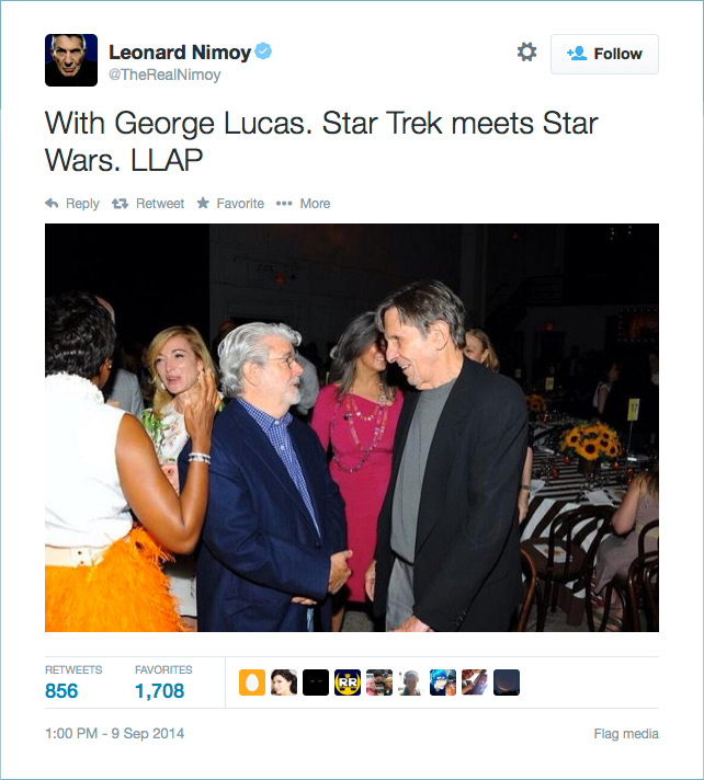 @TheRealNimoy: With George Lucas. Star Trek meets Star Wars. LLAP