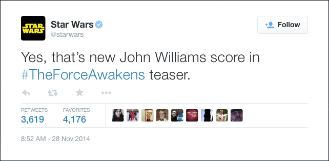 @starwars: Yes, that's new John Williams score in #TheForceAwakens teaser.
