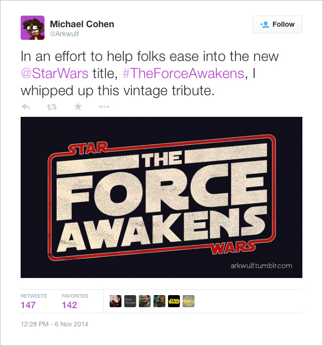 @Arkwulf: In an effort to help folks ease into the new @StarWars title, #TheForceAwakens, I whipped up this vintage tribute.